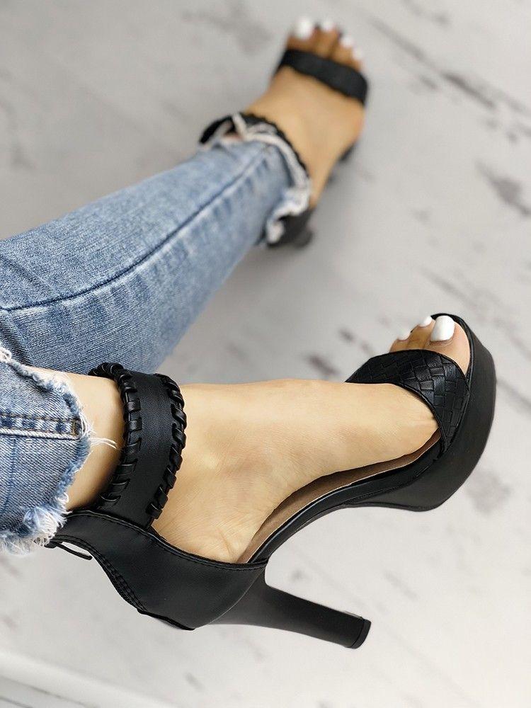 6abbae68056c Stylish Knitted Strap Open Toe Platform Heeled Sandals
