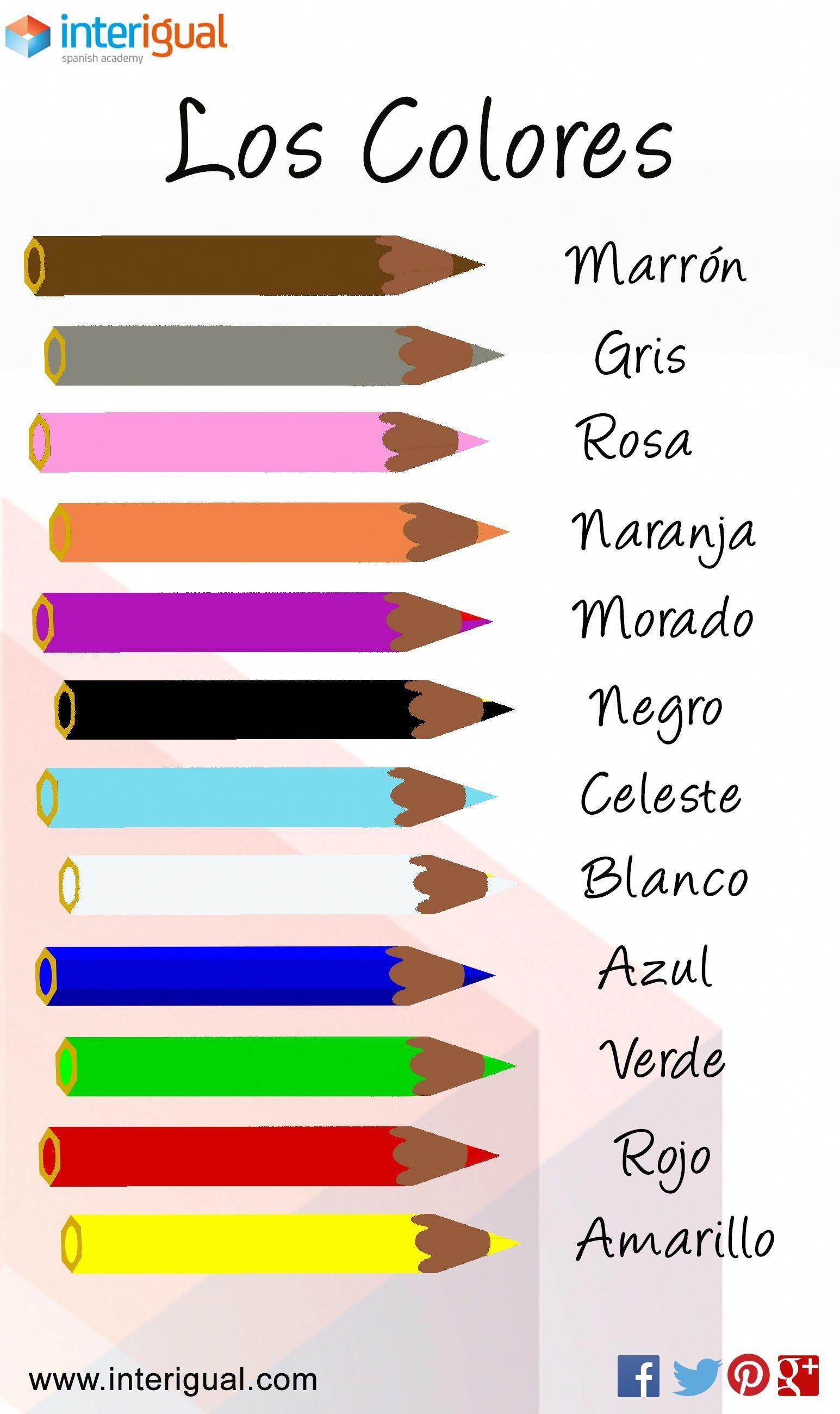 Los Colores Espanol Mas Learnspanish