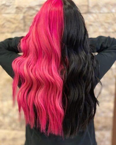 23 Brilliant Split Hair Color Ideas That Ll Make You Dye Your Hair In 2020 Hair Inspo Color Dyed Hair Split Dyed Hair