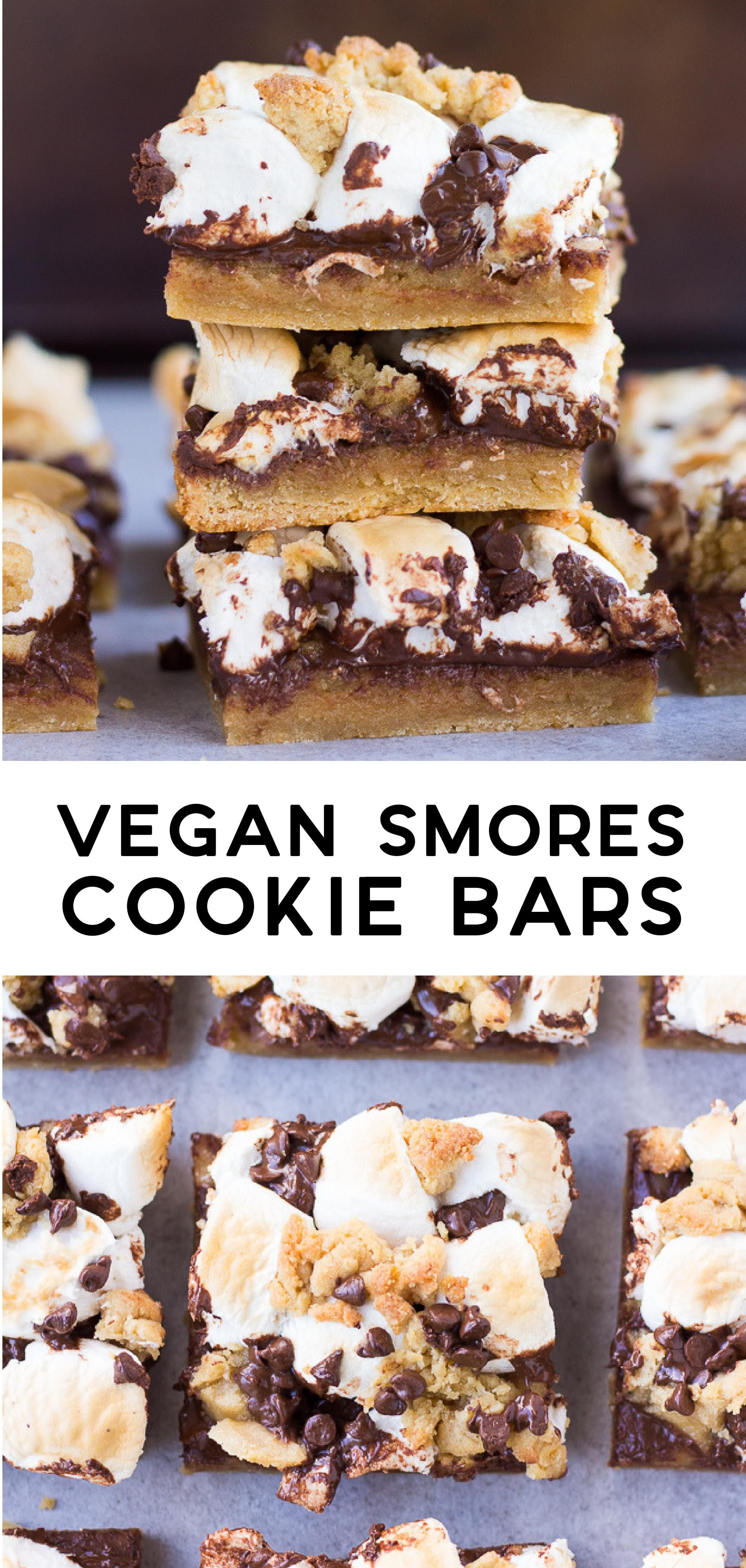 Vegan Smores Cookie Bars Feature A Golden Cookie Crust Loads Of Chocolate And A Marshmallow Topping Of Co Vegetarian Desserts Vegan Smores Smores Cookies Bars
