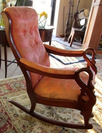 Terrific Antique 19Th Century Mahogany Swan Armed Rocking Chair No Pdpeps Interior Chair Design Pdpepsorg