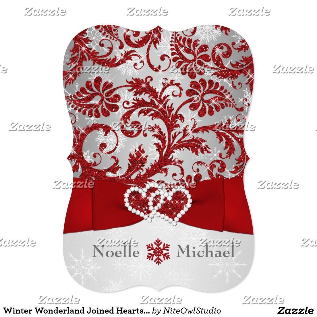 Winter Wonderland Joined Hearts Wedding Invite Red | Pinterest ...