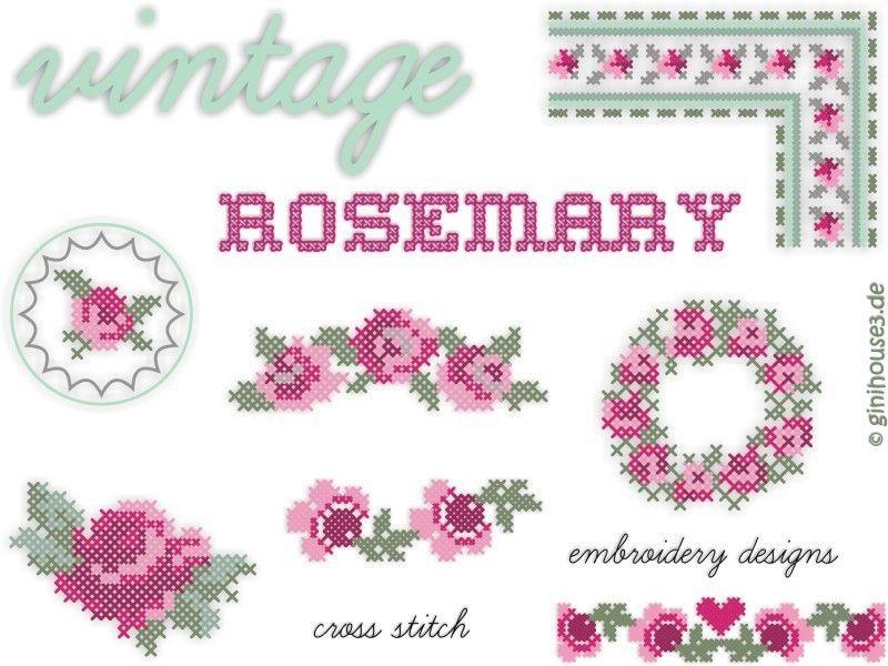 Stickmuster - Stickdateien Kreuzstich ❤ vintage RoseMary ❤ - ein Designerstück von ginihouse3 bei DaWanda