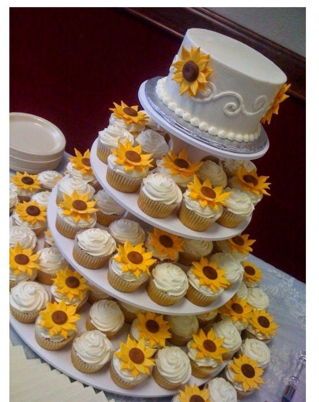 Cake idea Sunflower wedding cake, Wedding cupcakes