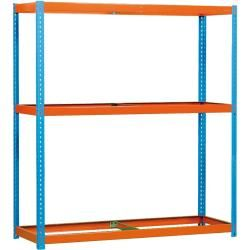 Estantería grande sin tornillos E – Forte 1504-3 azul / naranja sin estantes de acero, dimensiones: 200 x 150 x 45 cm (alto x ancho x