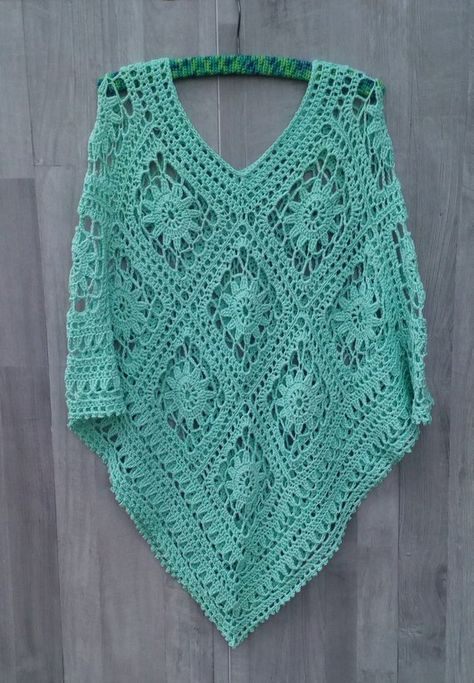 Crochet Poncho, Crochet Summer Plus size Poncho, Swimsuit Cover Up, Boho Poncho, Beach cover up, Hippie, Plus Size Cotton Poncho