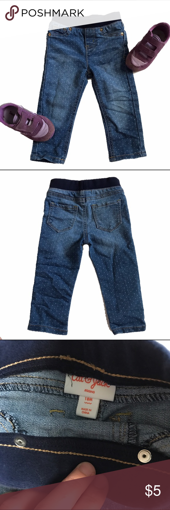 Cat and Jack polka dot denim Elastic waist polka dot blue jeans.  18M.  Runs big.  See photos for inseam measurement.  Worn a couple of times but my daughter is really thin so the waist was too big on her.  EUC.  B3.9 Cat and Jack Bottoms Jeans