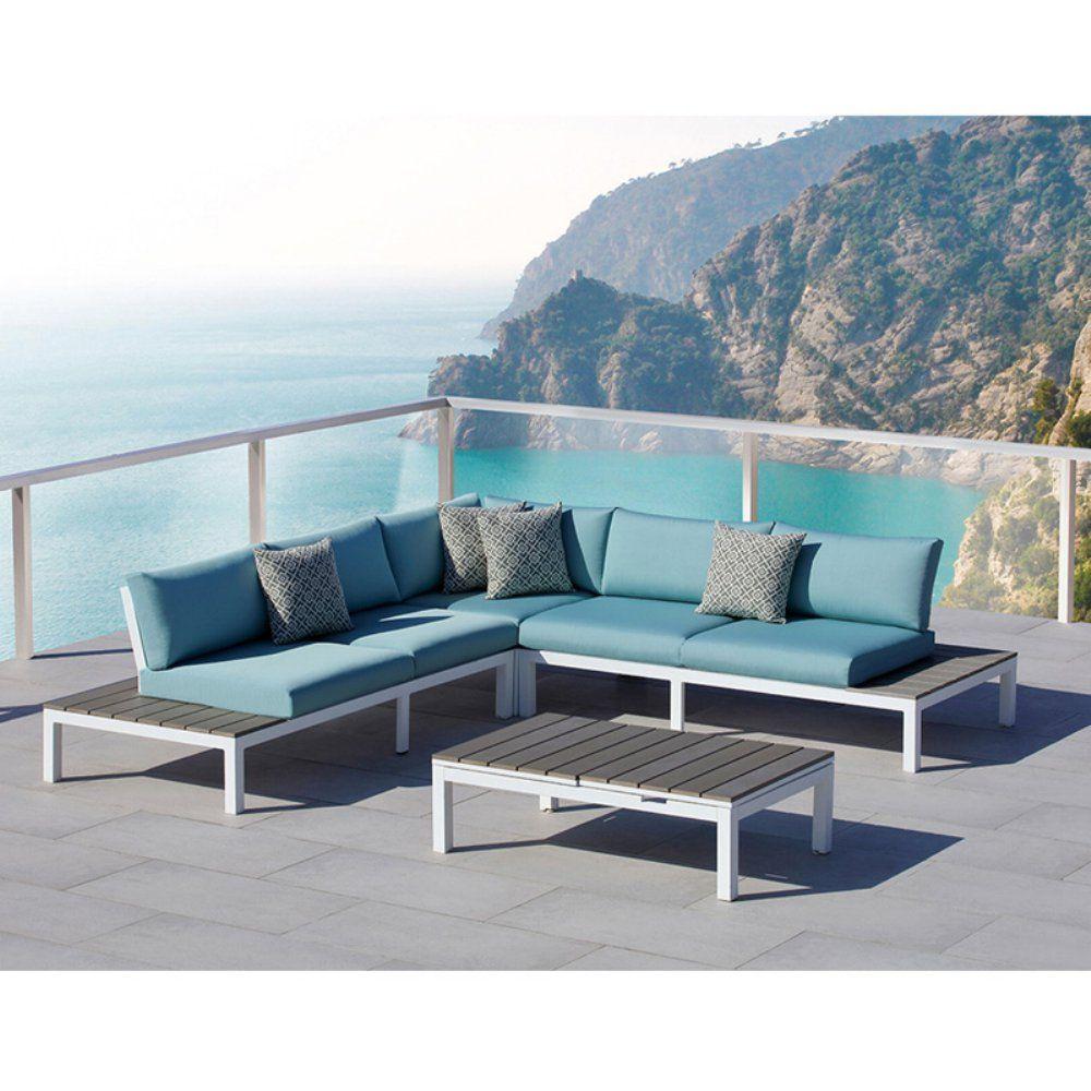 Ove Decors Malibu Aluminum 4 Piece Blue Outdoor Sectional Set