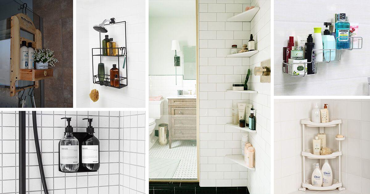 26 Space Saving Shower Storage Ideas To Improve Your Bathroom Shower Storage Small Bathroom Storage Space Saving