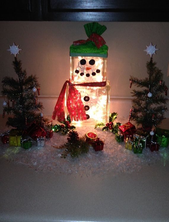 Snowman Lighted Block Display by CustomCraftByJessica on Etsy