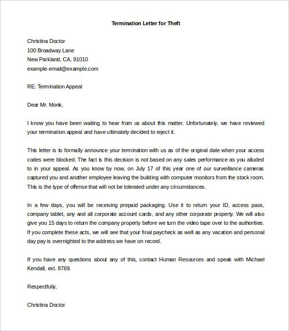 Example Of Termination Letter To Employee Interesting Termination Of Employment Letter  Template  Pinterest  Pdf