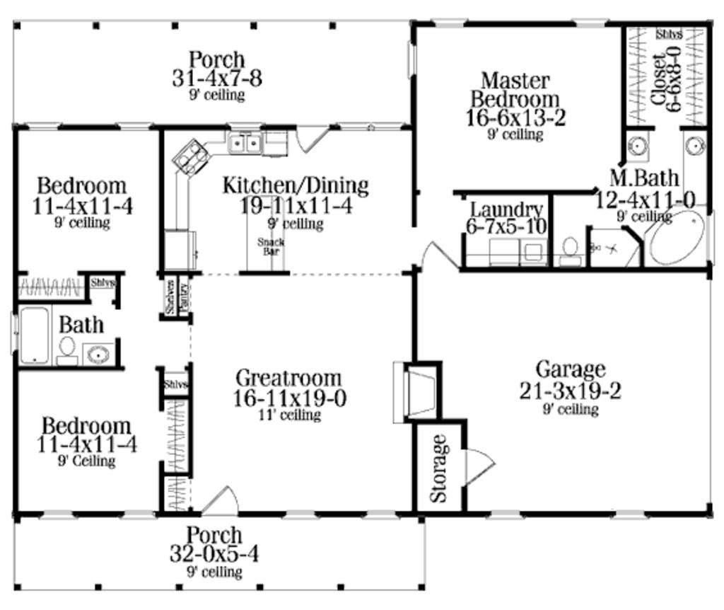 Country style house plan 3 beds baths 1492 sq ft for Shared bathroom layout