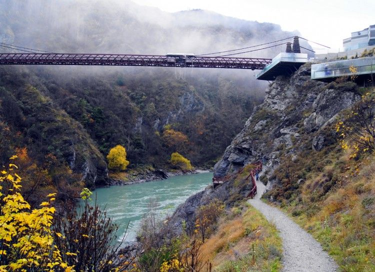 Kawarau Bridge, New Zealand Located in Queenston, this bridge is a well known attraction. It is 43 meters above the Kawarau River and offers fantastic views. It is best known as a great place to bungee jump.