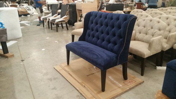 Upholstered. Settee. Navy Blue Microfiber [Velvet Like