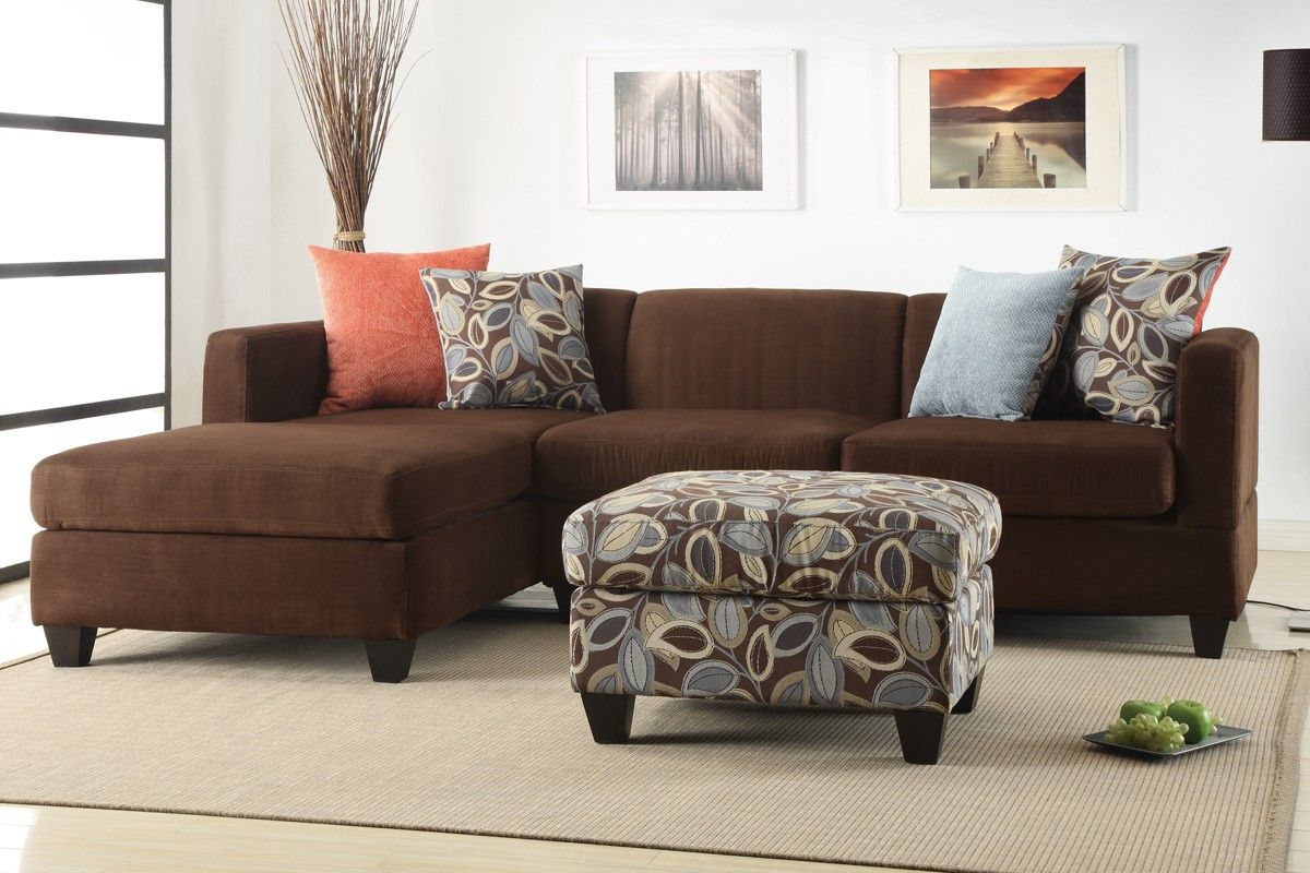 Bobkona Poundex Simplistic Collection Sectional Sofa With Ottoman, Dark  Chocolate