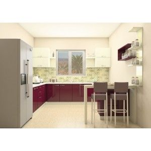 Modular L-Shaped Kitchen with ample storage cabinets and leeway ...