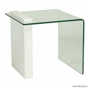 2 Glazen Bijzettafeltjes.Xx Pr Interiors Parma Glazen Bijzettafel Met Wit Hout 55