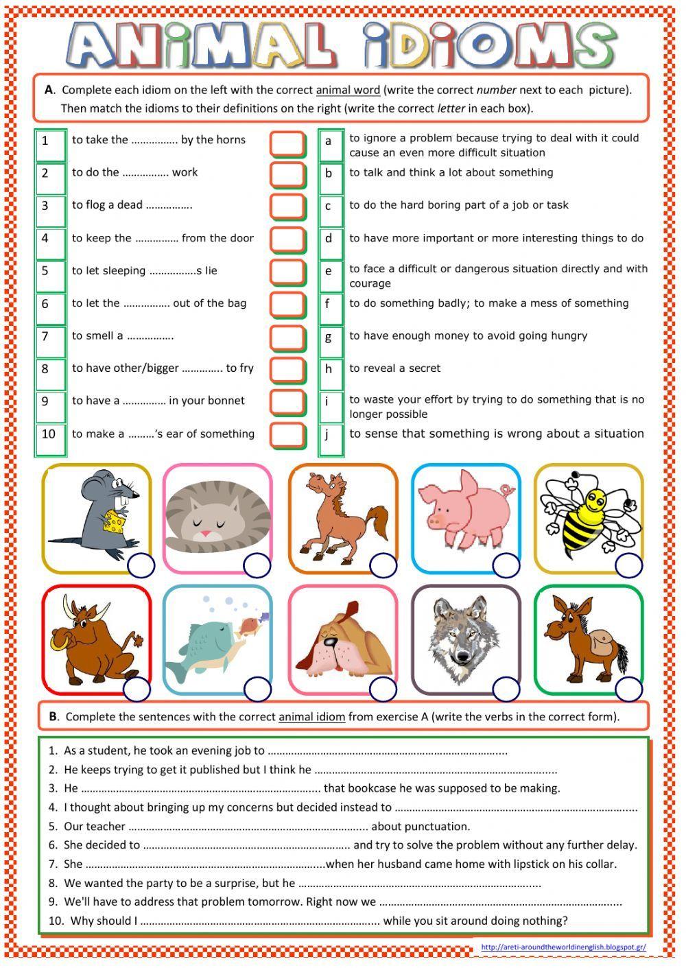 Animal Idioms - Interactive worksheet   Hojas de ejercicios para niños [ 1411 x 1000 Pixel ]