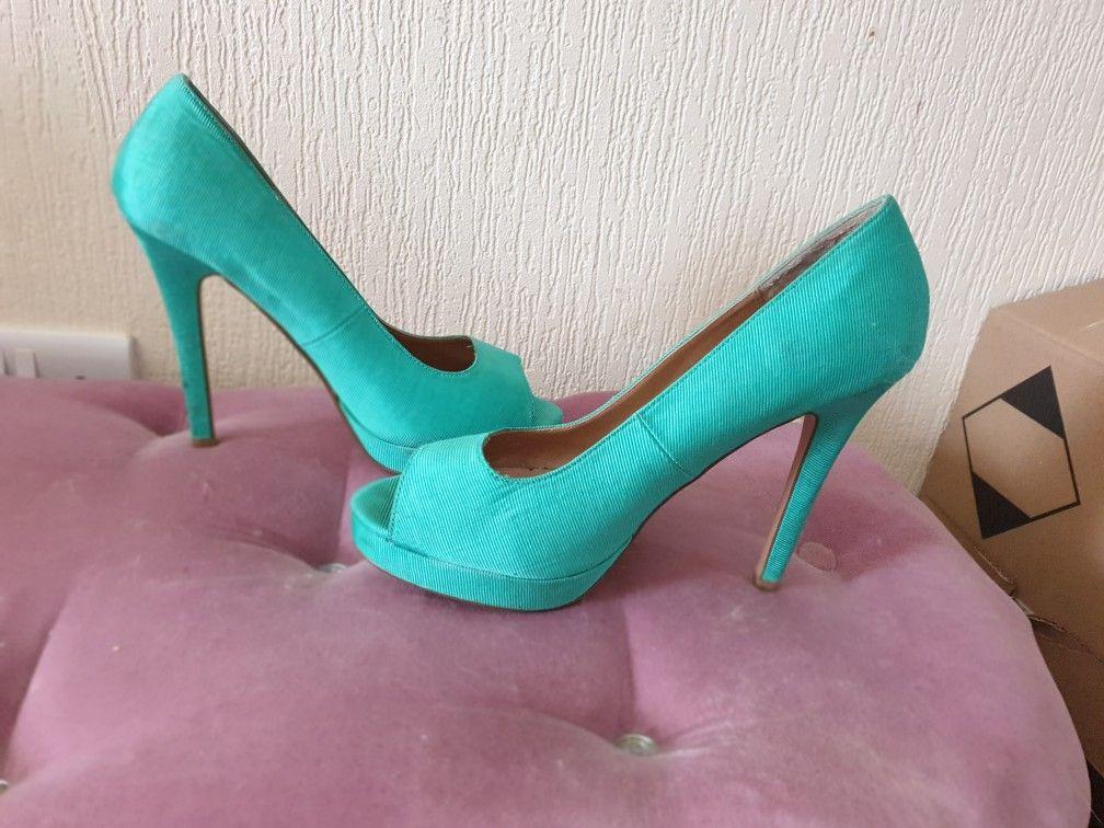 Beautiful turquoise open toe heels