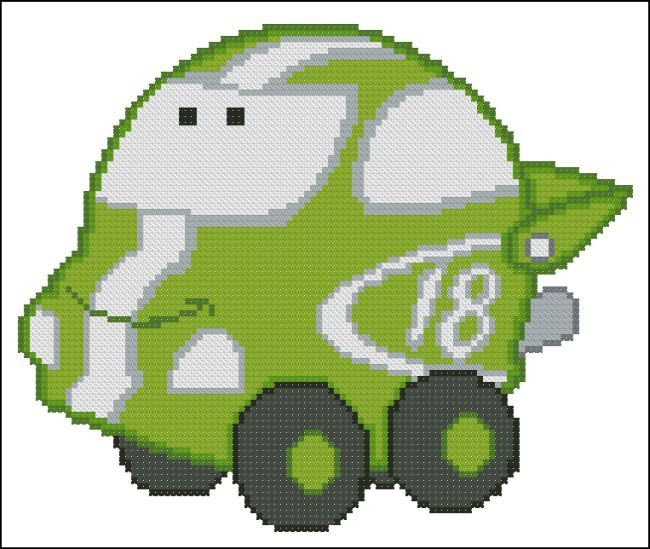 Chubby race cars 005 green lightning transportation cross stitch pinterest grille - Coloriage mini austin ...