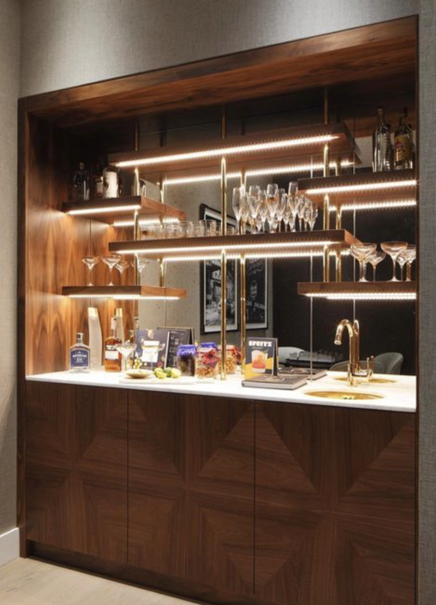 Built In Bar Nook Under Lit Floating Shelves Mirr