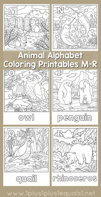 Free Animal Alphabet Coloring Pages M For Mouse N Narwhal O OwlP Penguin Q Quail And R Rhino
