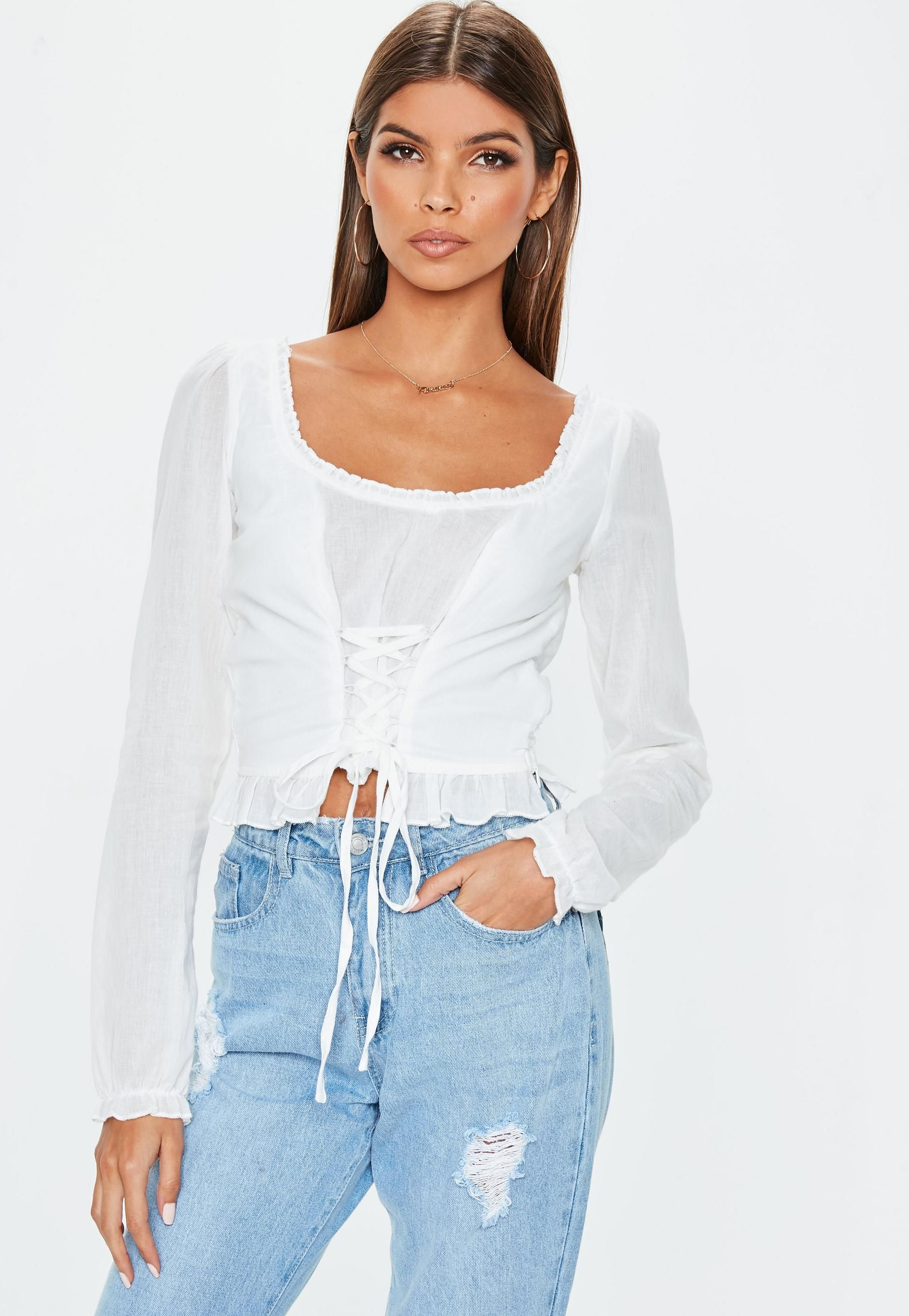 find Womens Long Sleeve Top in Lace-Up Ribbed Knit Brand
