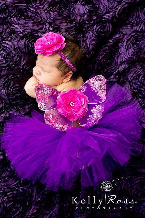 Newborn tutu butterfly wings headband set violet purple with fuchsia magenta sparkle on Etsy, $39.00
