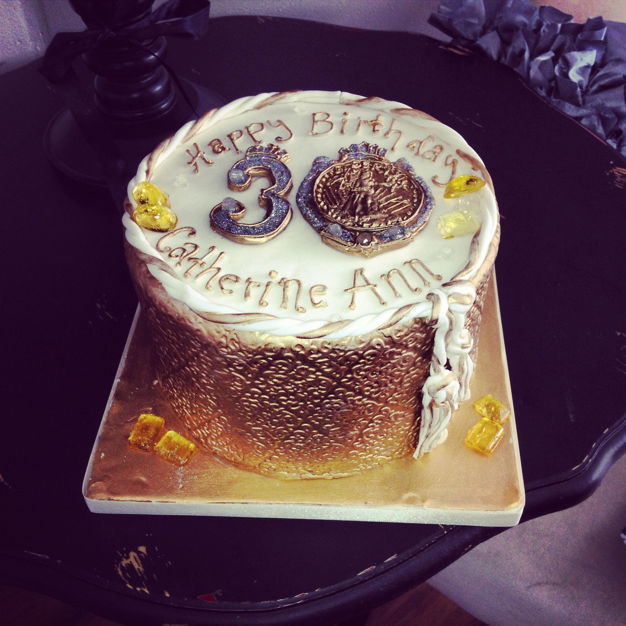 Gold And Bling 30th Birthday Cake By One Sweet Slice Specialty