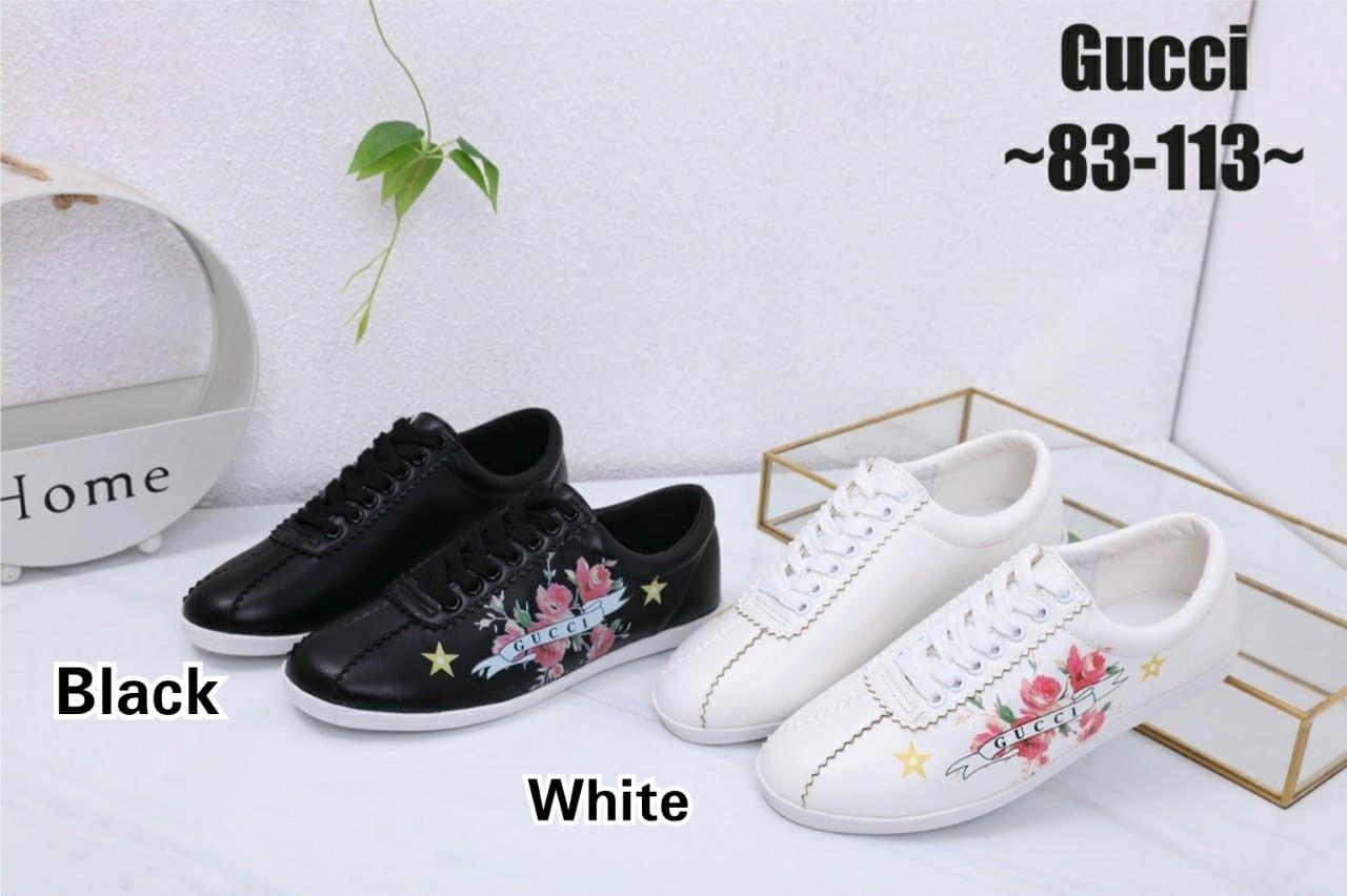 Gucci Sneakers Shoes Series 83 113 Bahan Kulit Halus Berat Real 650 Gram Include Box Colour Black White Heels 1 5 Cm 36 22cm 37 Gucci Kulit