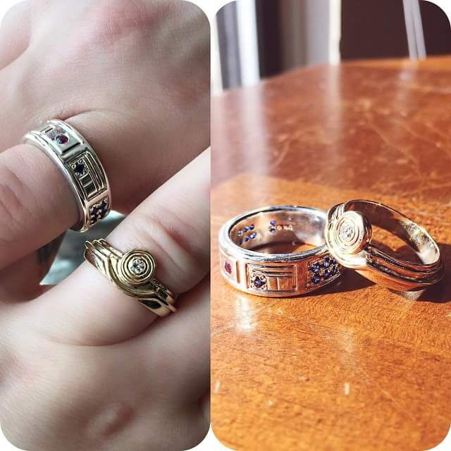 r2d2c3po wedding bands - R2d2 Wedding Ring