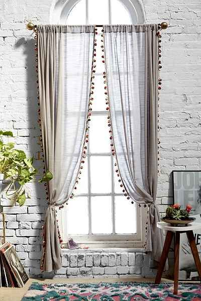 Awesome Magical Thinking Pompom Curtain Urban Outfitters In 2019 - Elegant blue bedroom curtains Awesome