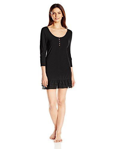 Betsey Johnson Womens Rib Knit Sleepshirt Raven Black Small >>> Details can be found by clicking on the image. Note: It's an affiliate link to Amazon.