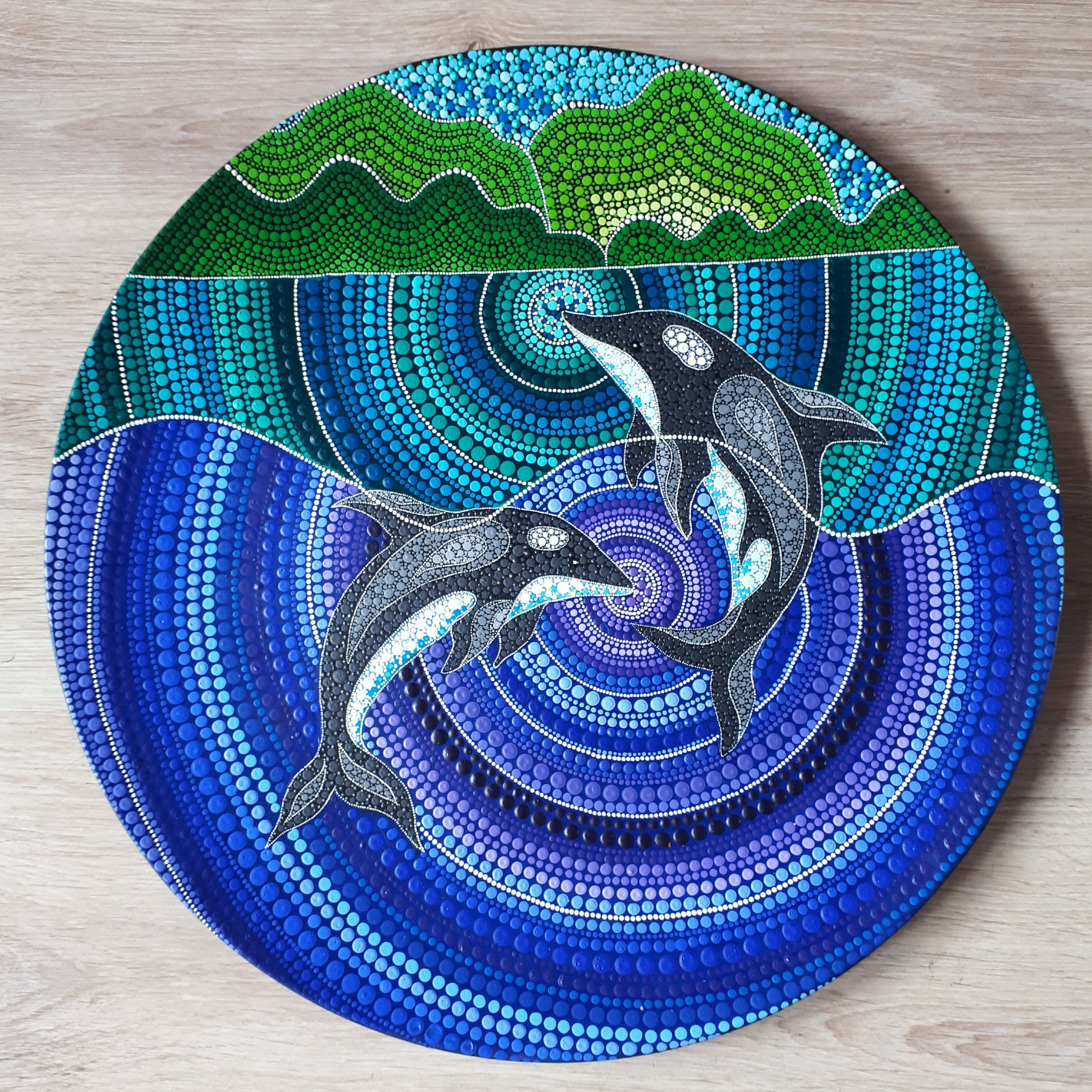 Pair Of Love Dolphins Dot Art By Sthennacollections On