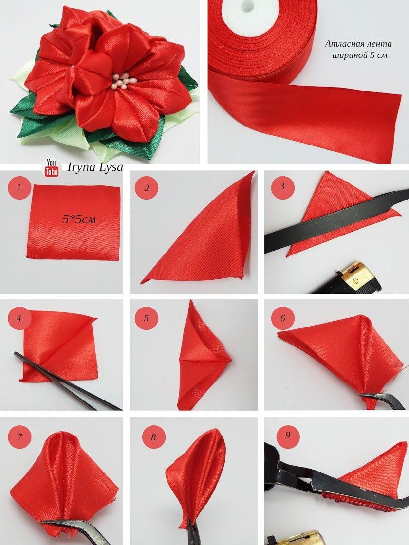 Zobrazhennya Kanzashi Tutorial Fabric Flower Tutorial Ribbon Flowers Diy