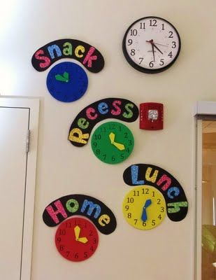 Checkout this great post on Bulletin Board Ideas! Love this idea. I just bought a couple of those clocks at target. Now I just need to make the signs.