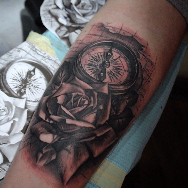 Compass & Rose tattoo by @mikendazzoart at Pride\'n\'Envy Tattoos in ...