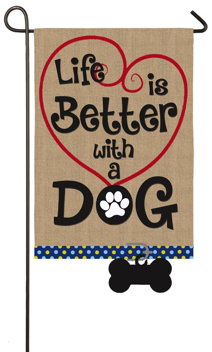 Life Is Better With Dog 2 Sided Polyester 18 X 13 In Garden Flag Burlap Garden Flags Burlap Flag Dog Garden Flags