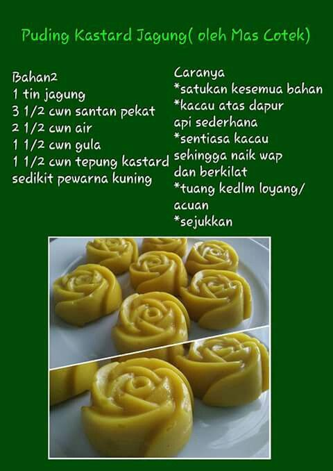 Puding Kastad Jagung Asian Desserts Sweets Recipes Food