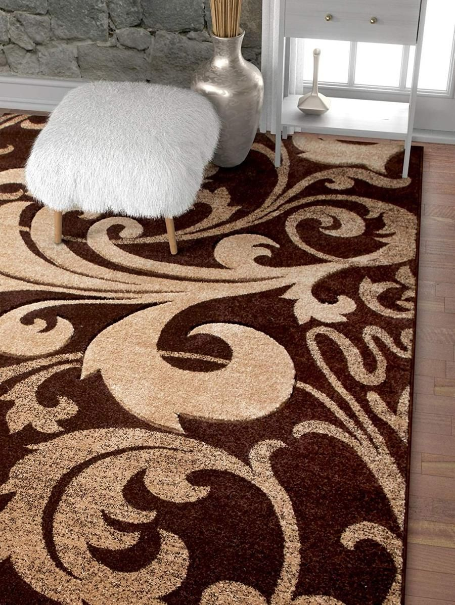 6088 Brown Floral Carved Contemporary Area Rugs Contemporary