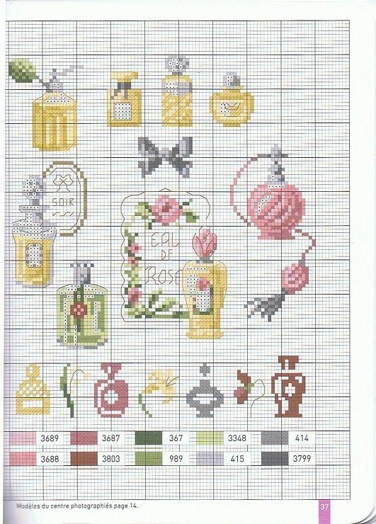 Tendance parfums  0 point de croix anciennes bouteilles de parfum- cross stitch antique bottles of