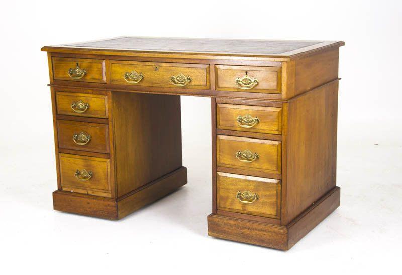 Antique Desk, Pedestal Desk, Leather top Desk, Double Pedestal Desk, B926 - Antique Desk, Pedestal Desk, Leather Top Desk, Double Pedestal Desk