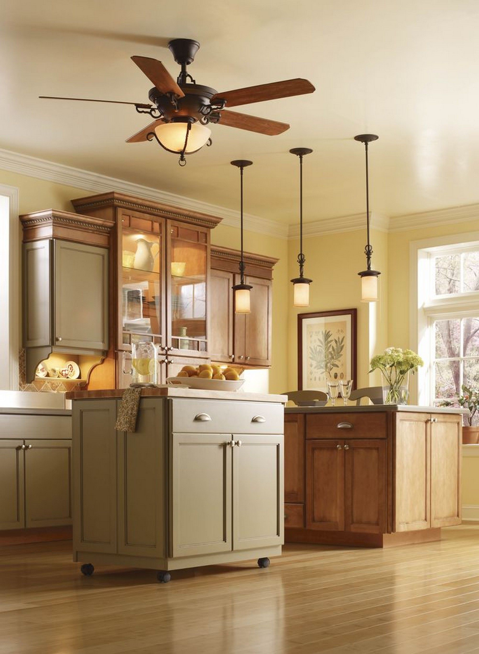 Charming Small Island Under Awesome Kitchen Ceiling Lights With Wooden Ceiling Fan  On Cream Ceiling