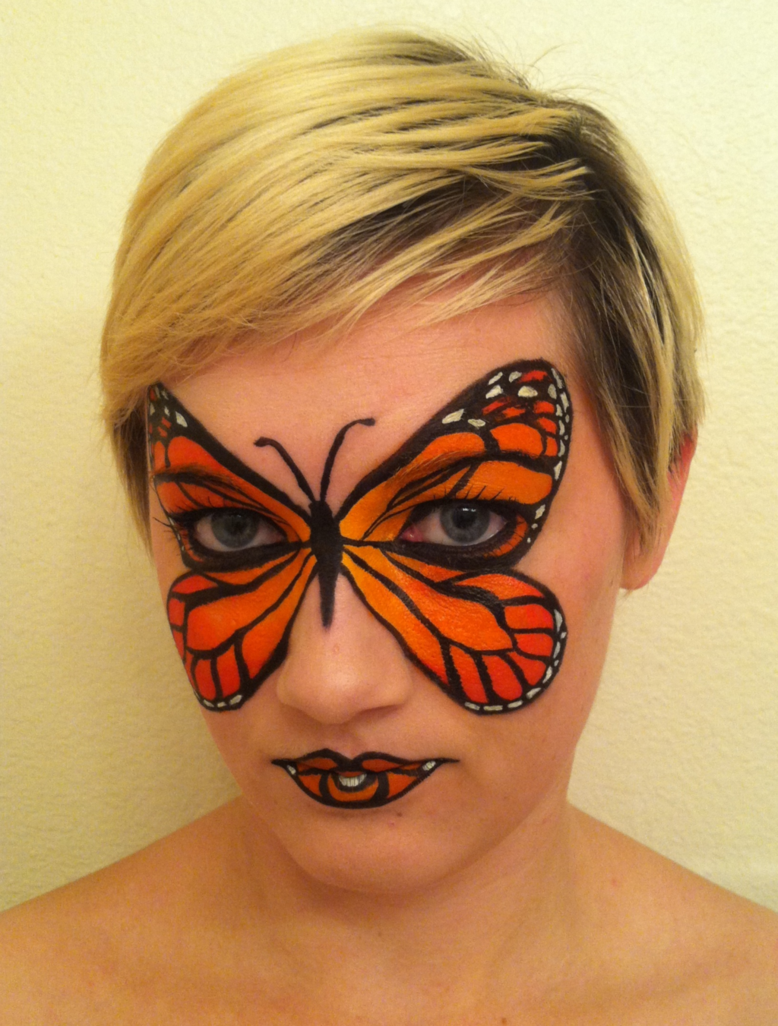 Monarch Butterfly Face Paint by ~throughtherain67 on deviantART ... for Butterfly Painting Designs  181obs