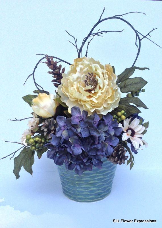 Yellow peony with blue hydrangea silk flower arrangements yellow peony with blue hydrangea silk flower arrangements pinterest yellow peonies mightylinksfo