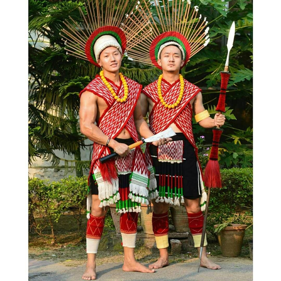Angami Naga men in traditional attires. Tribal dress