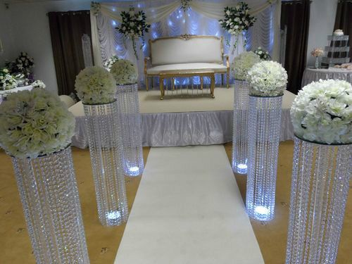 3 Feet Iridescent Wedding Aisle Decoration Crystal Pillars Pedestals Columns