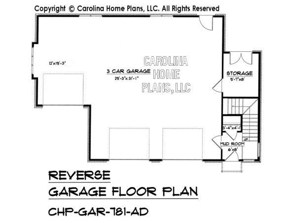 GAR781 Reverse Lower Level Garage Plan – Elevated Garage Plans