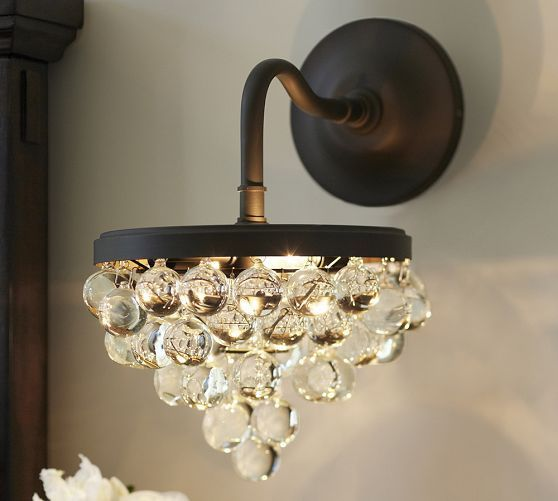 Callia Crystal Sconce Pottery Barn Crystal Sconce Wall Sconces Living Room Sconce Lighting
