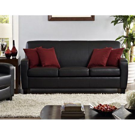 Mainstays Faux Leather Sofa Black Walmart Com Faux Leather Sofa Faux Leather Couch Black Leather Couch